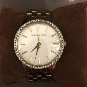 Michael Kors Pave Two-Tone Watch
